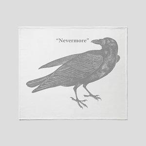 Grey Nevermore Raven Throw Blanket
