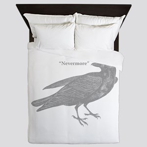 Grey Nevermore Raven Queen Duvet
