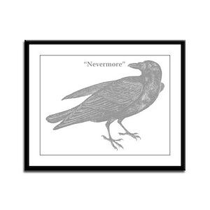 Grey Nevermore Raven Framed Panel Print