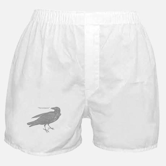 Grey Nevermore Raven Boxer Shorts
