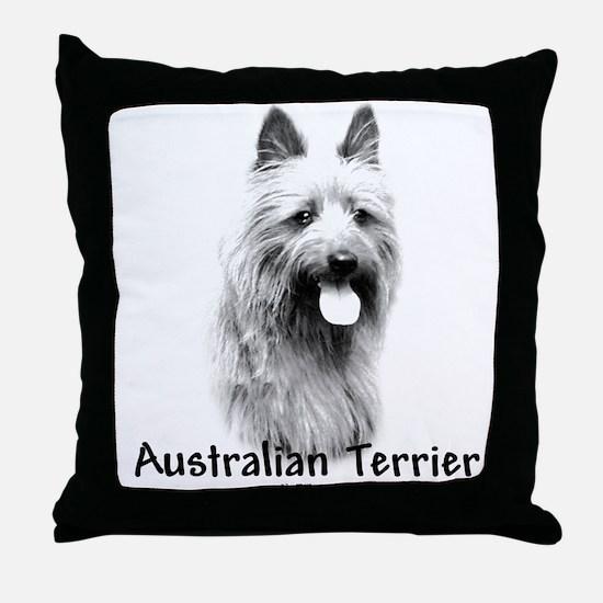 Australian Terrier Charcoal Throw Pillow