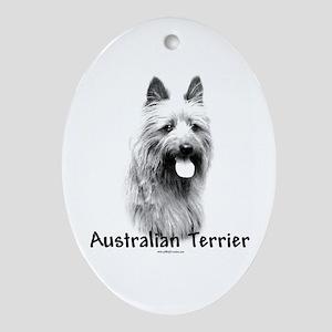 Australian Terrier Charcoal Oval Ornament