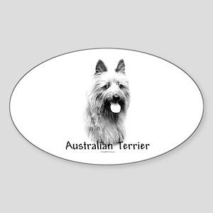 Australian Terrier Charcoal Oval Sticker