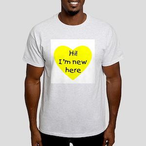 Hi! I'm new here (yellow) Ash Grey T-Shirt