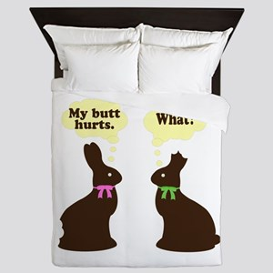 My butt hurts Chocolate bunnies Queen Duvet