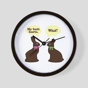 My butt hurts Chocolate bunnies Wall Clock