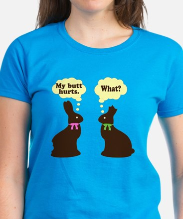 My butt hurts Chocolate bunnies Women's Dark T-Shi