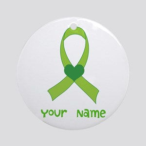 Personalized Green Heart Ribbon Ornament (Round)