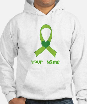 Personalized Green Heart Ribbon Hoodie