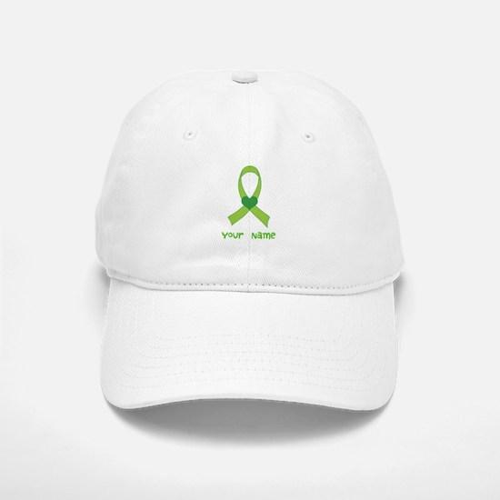 Personalized Green Heart Ribbon Baseball Baseball Cap