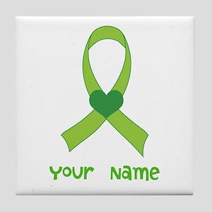 Personalized Green Heart Ribbon Tile Coaster