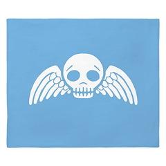 Cute Blue Skull With Wings King Duvet