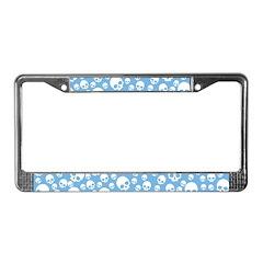Light Blue Random Skull Pattern License Plate Fram
