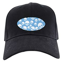 Light Blue Random Skull Pattern Black Cap