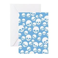 Light Blue Random Skull Pattern Greeting Cards (pk