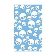 Light Blue Random Skull Pattern Sticker (rectangle