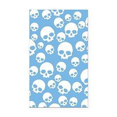 Light Blue Random Skull Rectangle Car Magnet