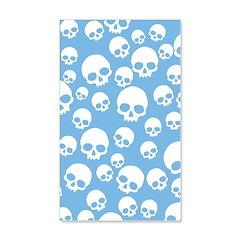 Light Blue Random Skull Pattern Wall Decal