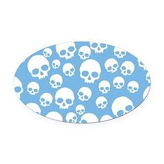 Light Blue Random Skull Pattern Oval Car Magnet