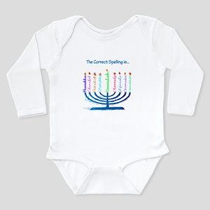 Chanukah Spelling Long Sleeve Infant Bodysuit