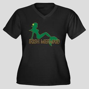 Irish Mermaid White Crop Plus Size T-Shirt