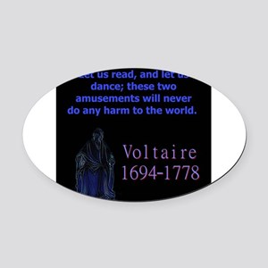 Let Us Read - Voltaire Oval Car Magnet
