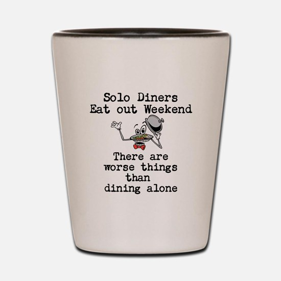 solo diners eat out weekend Shot Glass