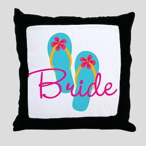 Flip Flop Bride Throw Pillow