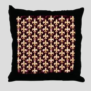 Fleur de Lis with Glamour Glow Throw Pillow