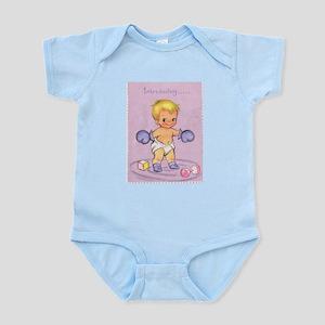 Vintage Baby Boy Birth Announcement Infant Bodysui