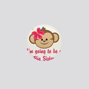 Big Sister to Be Pink Monkey Mini Button