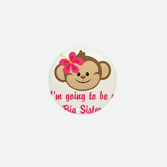 Big Sister to Be Pink Monkey Mini Button