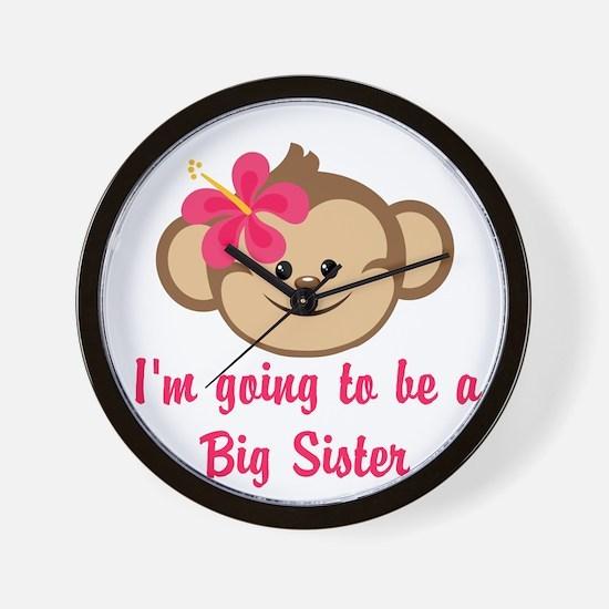 Big Sister to Be Pink Monkey Wall Clock