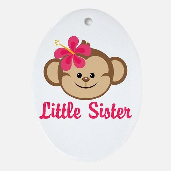 Little Sister Monkey Girl Ornament (Oval)