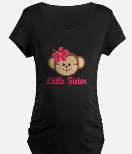 Little Sister Monkey Girl Maternity T-Shirt