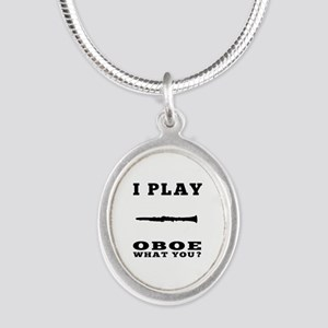 I Play Oboe Silver Oval Necklace