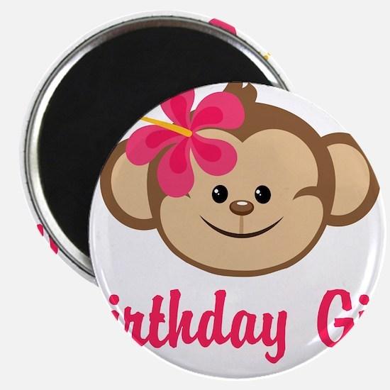 "Birthday Girl Pink Monkey 2.25"" Magnet (10 pack)"