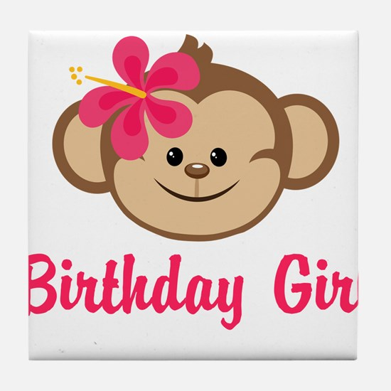 Birthday Girl Pink Monkey Tile Coaster