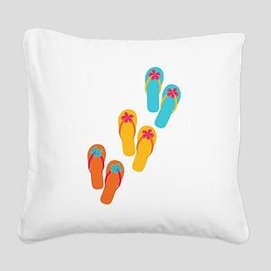 Trio of Flip Flops Square Canvas Pillow
