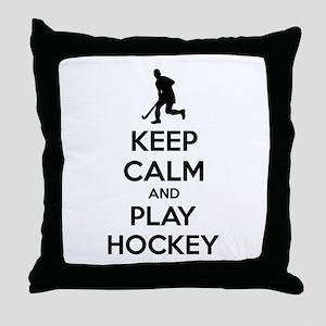 Keep calm and play hockey Throw Pillow