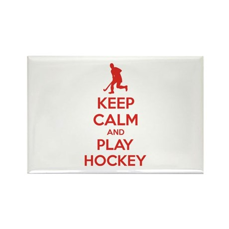Keep calm and play hockey Rectangle Magnet (10 pac