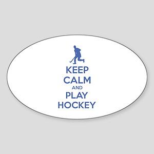 Keep calm and play hockey Sticker (Oval)