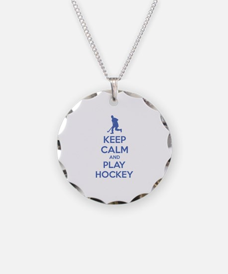 Keep calm and play hockey Necklace