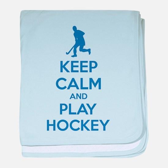 Keep calm and play hockey baby blanket