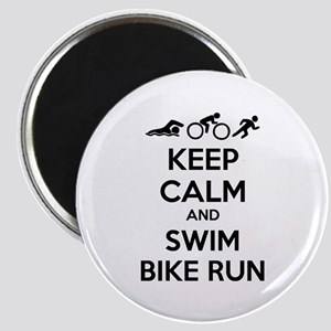 Keep calm and swim bike run Magnet
