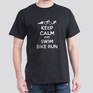 Keep calm and swim bike run Dark T-Shirt