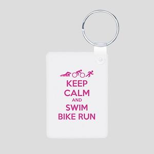 Keep calm and swim bike run Aluminum Photo Keychai