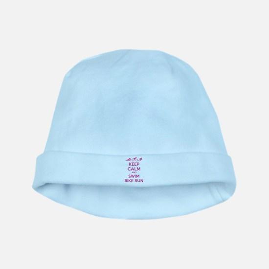 Keep calm and swim bike run baby hat