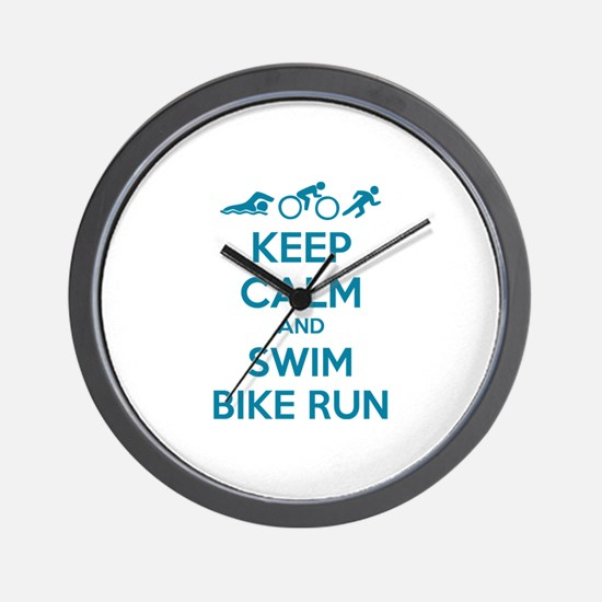 Keep calm and swim bike run Wall Clock