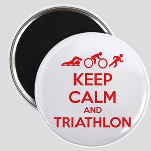 Keep calm and triathlon Magnet
